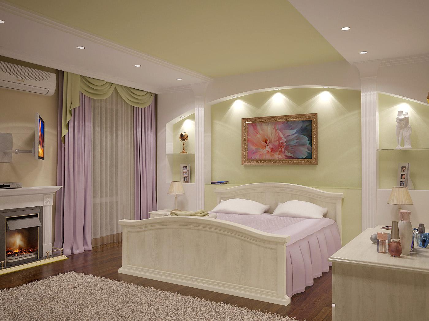 дизайн спальни с гипсокартоном над кроватью фото нужный
